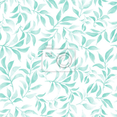 watercolor seamless pattern with leafs and branches
