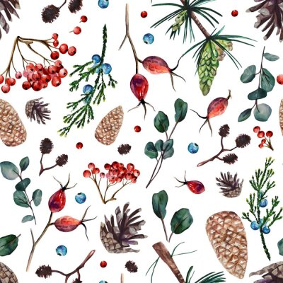 Watercolor seamless pattern with pine cones, branches of rose hip, alder, juniper eucalyptus and pine, rowan bunches, juniper and rowan berries.  Hand painted floral pattern with forest spirit.