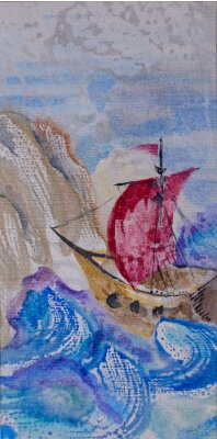 Canvas print Watercolor seascape with ship sailing in a stormy sea to the lan