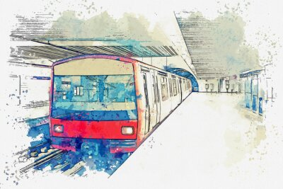 Canvas print Watercolor sketch or illustration of the metro in Lisbon in Portugal. Traditional subway train at the subway station