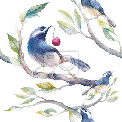 Watercolor spring seamless pattern with birds, tree branches and cherry. Hand painted botanical wallpaper template: birds sitting on branches with leaves on white background.