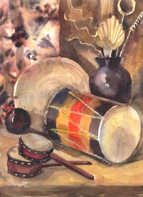 Canvas print Watercolor still life with a drum