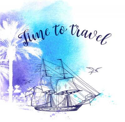 Canvas print Watercolor travel background