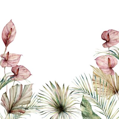 Canvas print Watercolor tropic border with anthurium and palm leaves. Hand painted frame with flowers and plant isolated on white background. Floral holiday illustration for design, print, background.