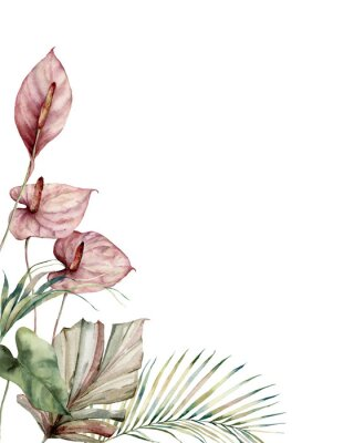 Canvas print Watercolor tropic card with anthurium and palm leaves. Hand painted frame with flowers and plant isolated on white background. Floral illustration for design, print, background. Invitation template.