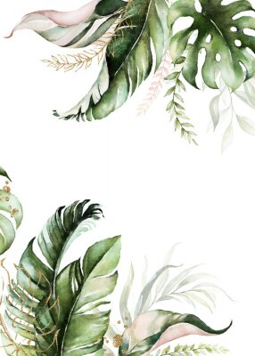 Canvas print Watercolor tropical floral border - green, blush & gold leaves. For wedding stationary, greetings, wallpapers, fashion, background.