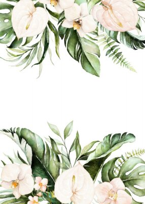 Canvas print Watercolor tropical floral border - green, blush leaves & flowers . For wedding stationary, greetings, wallpapers, fashion, background.