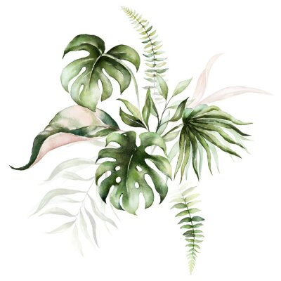 Canvas print Watercolor tropical floral bouquet - green & blush leaves. For wedding stationary, greetings, wallpapers, fashion, background.