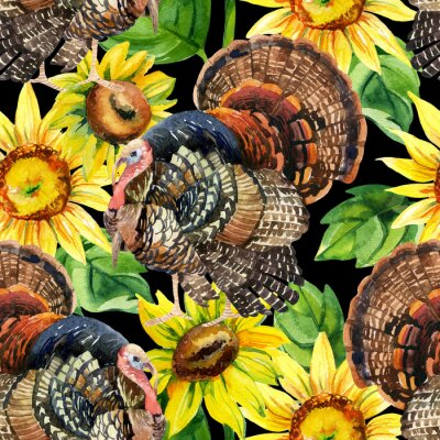 Canvas print Watercolor turkey with sunflowers seamless pattern