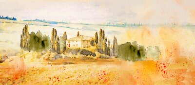 Canvas print Watercolor Tuscany. Countryside landscape