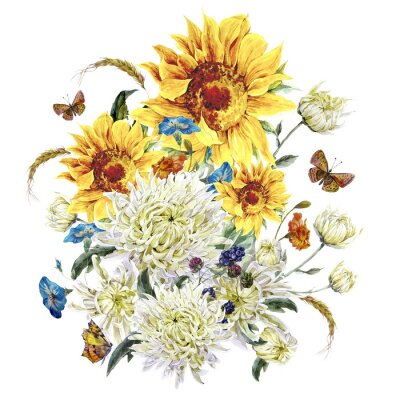 Canvas print Watercolor vintage card with chrysanthemums, sunflowers and butt