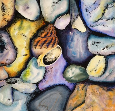 Canvas print Watercolour and Indian Ink Painting - Shell with Pebbles