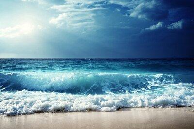 Canvas print waves at Seychelles beach