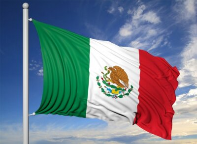 Canvas print Waving flag of Mexico on flagpole, on blue sky background.
