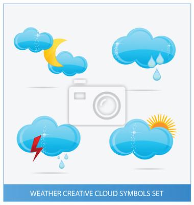 weather blue clouds symbols set