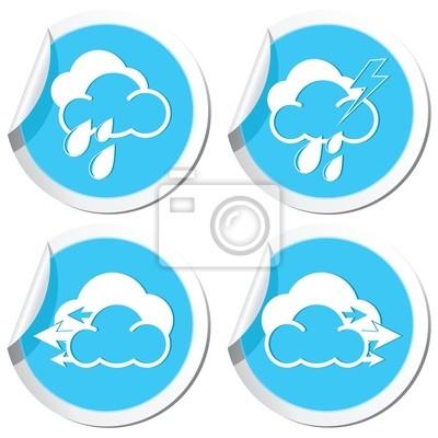 Weather forecast, rain and wind icons set