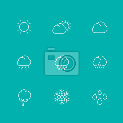 Weather line icons, sunny, cloudy day, rain, hail, snow, wind, isolated set, vector illustration