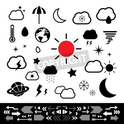 weather symbol set on white background