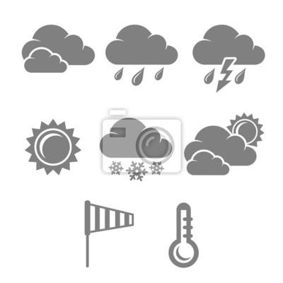 Weather symbols set, contrast flat