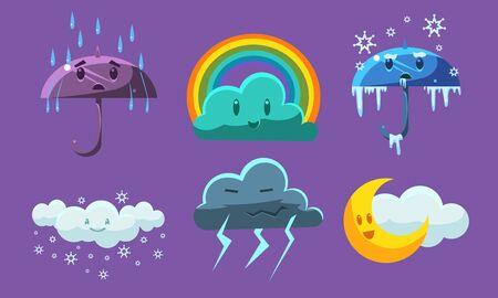 Weather Symbols Set, Forecast Meteorology Childish Signs Vector Illustration on Purple Background.