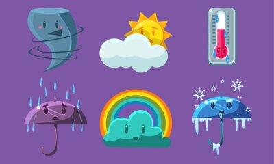 Weather Symbols Set, Forecast Meteorology Cute Signs Vector Illustration