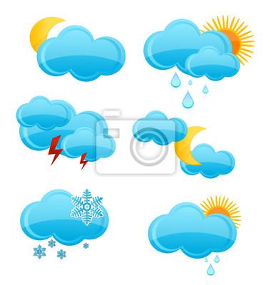 web and glass weather symbols set