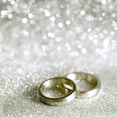 Canvas print Wedding rings and stars in silver
