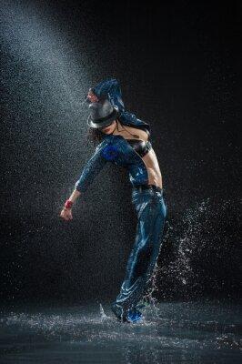 Canvas print Wet dancing woman. Under waterdrops. Studio photo