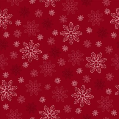 white and pink snowflakes in a chaotic order on a red background. Seamless pattern. Pattern for fabric, wrapping paper for Christmas gifts. Vector