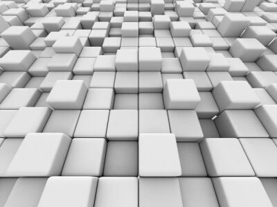 Canvas print White cubes wall 3d background