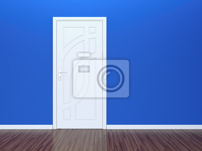 White door and blue wall
