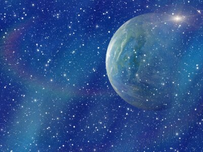 Canvas print white flash of space planet. cosmos sky backgrounds