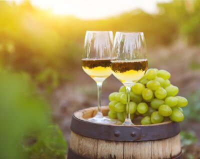 Canvas print White grapes and two glasses of white wine