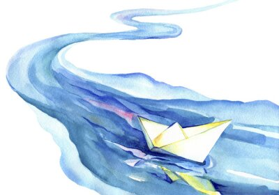 Canvas print White paper boat floating in the water. Watercolor painting of the river and ship on a white background.
