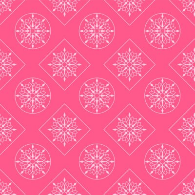 White snowflakes in diamonds and circles on a pink background. Seamless pattern. Pattern for fabric, wrapping paper for Christmas gifts. Vector