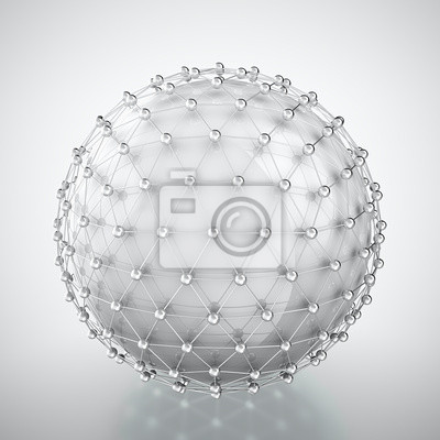 White sphere in metal cage