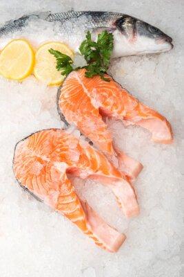Canvas print Whole mackerel fish and salmon