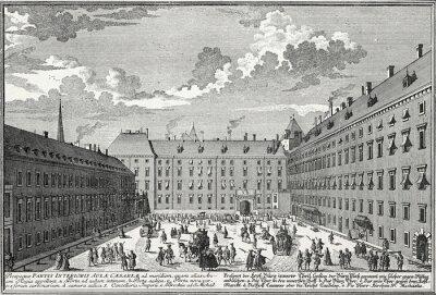 Canvas print Wien, Innerer Burghof um 1725, Kupferstichvorlage