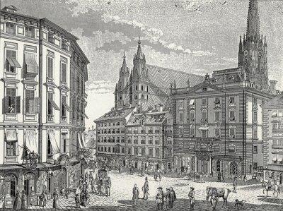 Canvas print Wien, Stock-im-Eisen-Platz Ende 18. Jh., Kupferstichvorlage