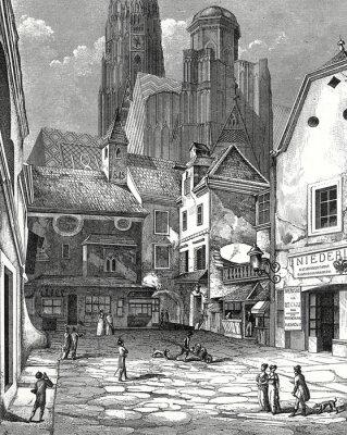 Canvas print Wien, Zwettlhof mit Stephansdom um 1842, Kupferstichvorlage
