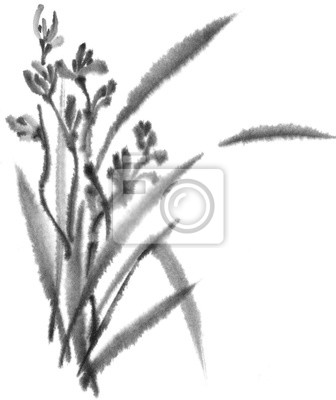 Wild Orchid. Black and white ink image. Chinese, japanese style. Graphic arts. Background with flowers. Flowers and leaves.