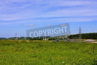 Wind farm set in the rolling hills of Fala Moor, Midlothian, Scotland.