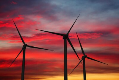 Canvas print Wind generator turbines in sky