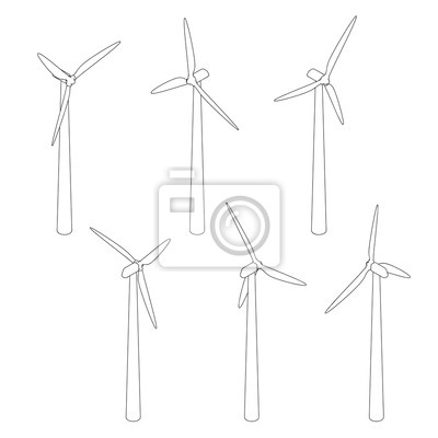 Wind turbin set.Isolated on white.Vector outline. Isometric view