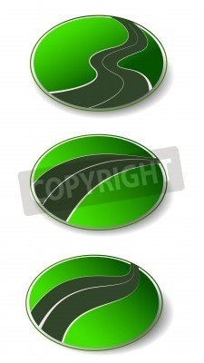 winding road set vector icons