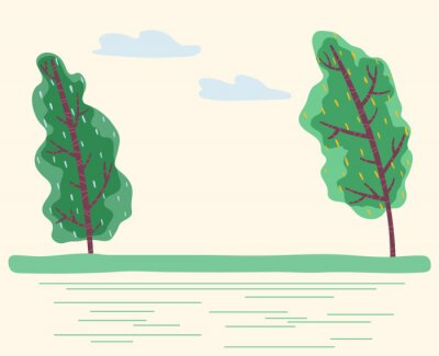 Windy weather in forest with green trees. Bad conditions outdoors, summer or spring. Natural scenery with sky and grass. Environment with plants and and blowing wind. Vector in flat style illustration