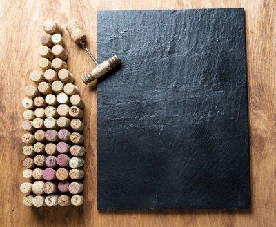 Canvas print Wine corks in the shape of wine bottle.