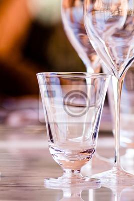 Wine glasses in restaurant setting