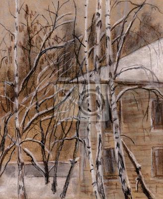 Canvas print Winter birches