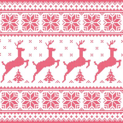 Canvas print Winter, Christmas red seamless pixelated pattern with deer